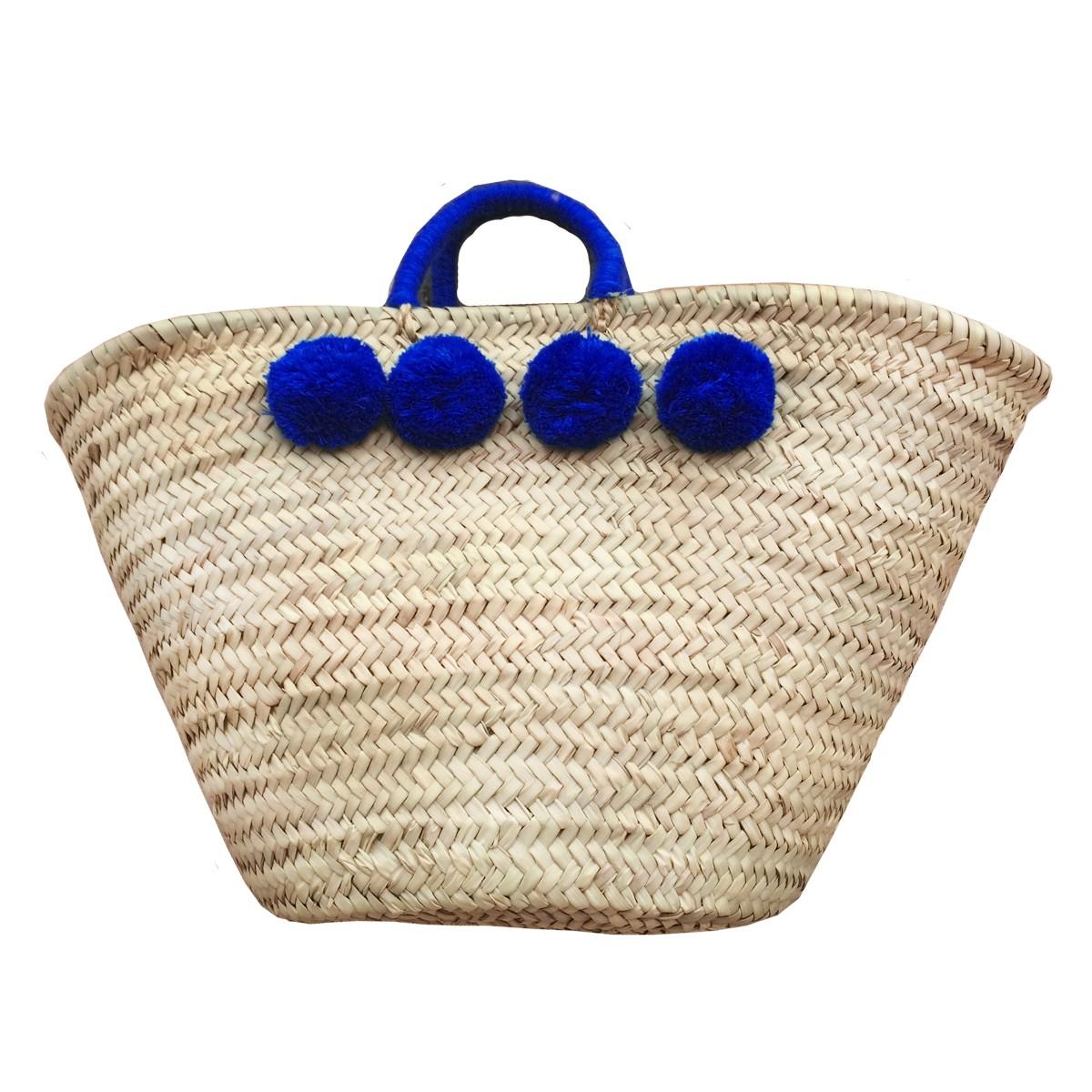 Basket wool 8 pom pom navy blue
