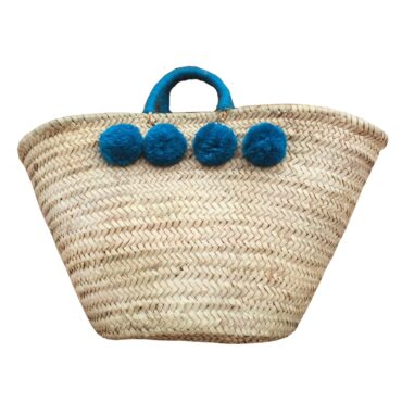 Basket wool 8 pom pom blue jean