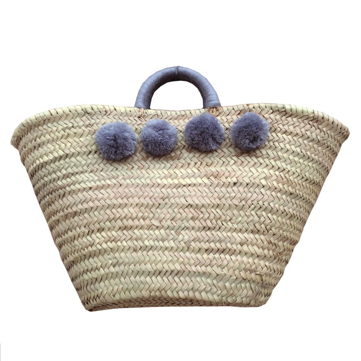 Basket wool 8 pom pom grey