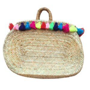 Basket tall ovale wool fringe multicolorrope
