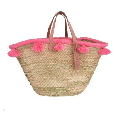 French baskets pastel pink pompom