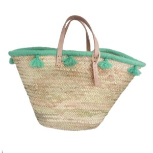 French baskets pastel green pompom