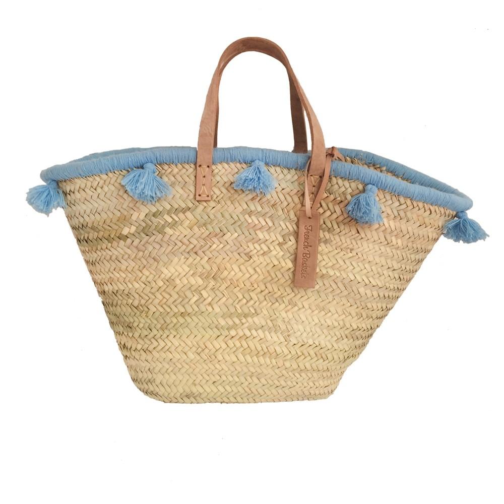 French baskets pastel blue pompom