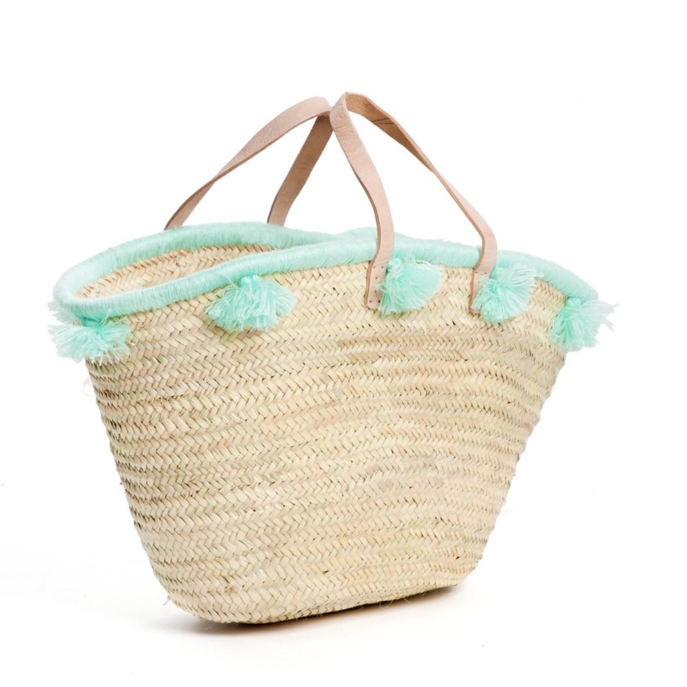 French baskets pastel green pompom
