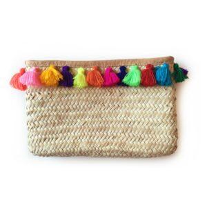 French Baskets clutch straw bags PomPom necklace