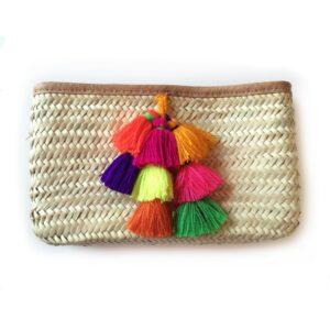French Baskets Clutch straw bags PomPom Bell