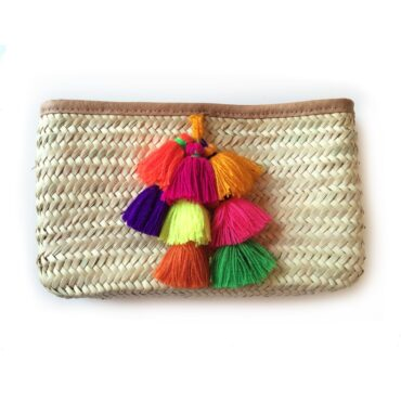 French Baskets Clutch straw bags PomPom Bell