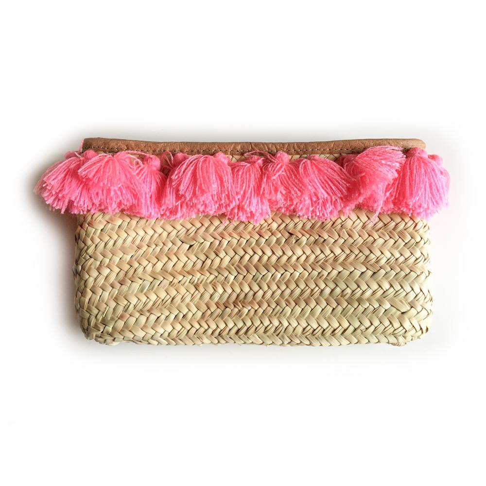 French Baskets clutch straw bags PomPom necklace pink