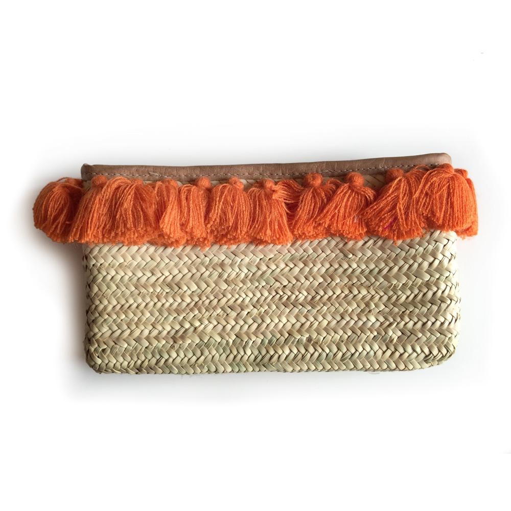 French Baskets clutch straw bags PomPom necklace orange