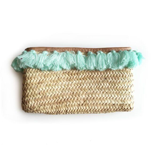 French Baskets clutch straw bags PomPom necklace lagoon