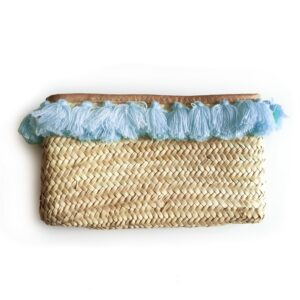 French Baskets clutch straw bags PomPom necklace Blue