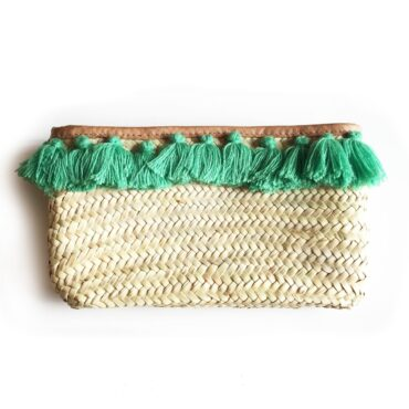 French Baskets clutch straw bags PomPom necklace green