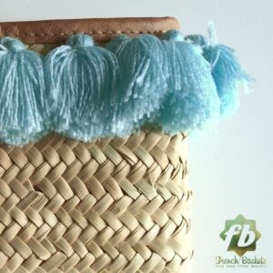 French Baskets clutch bags PomPom necklace Blue