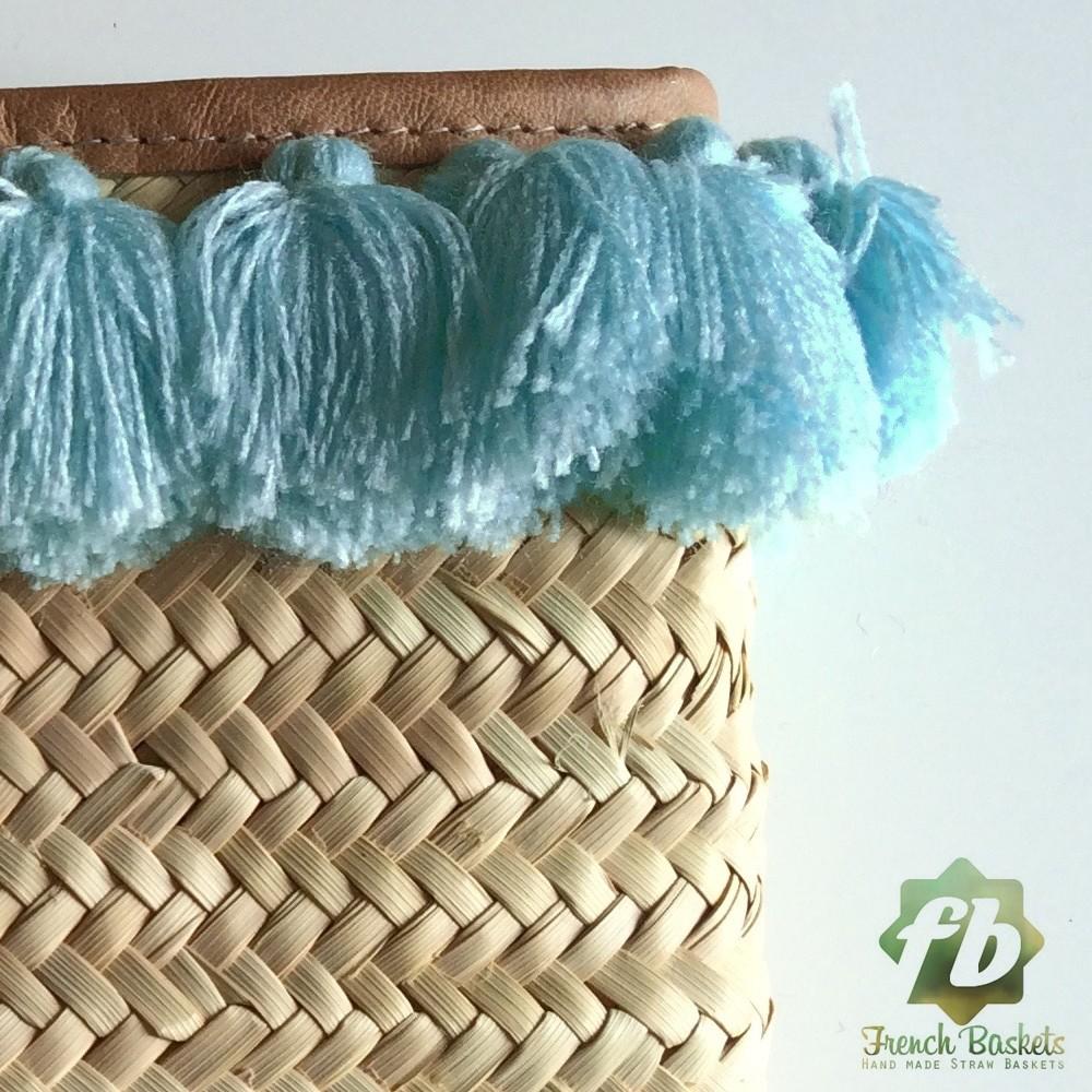 French Baskets clutch bags PomPom necklace Blue