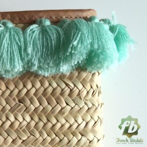 French Baskets clutch bags PomPom necklace lagoon