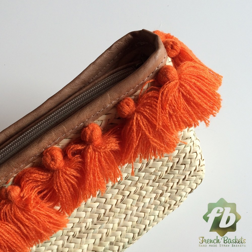French Baskets clutch bags PomPom necklace orange