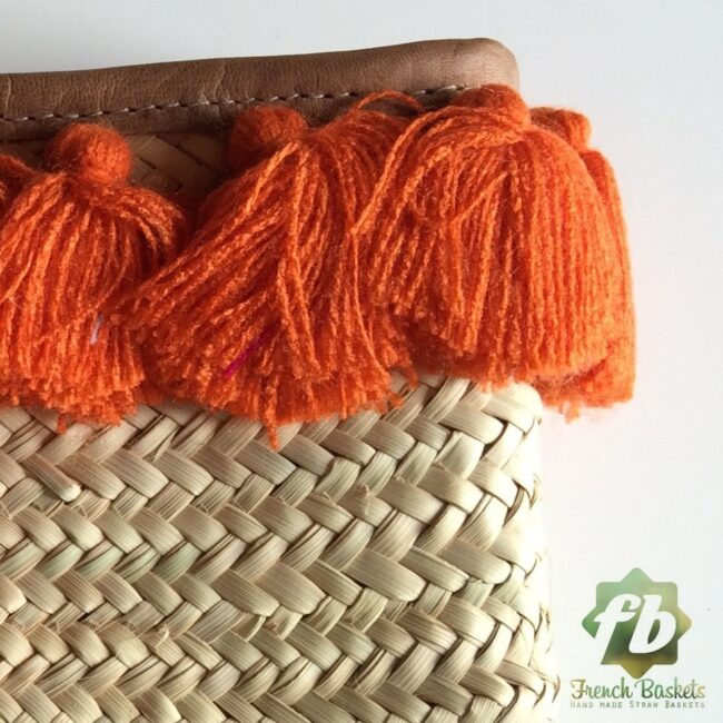 French Baskets clutch bags PomPom necklace orange