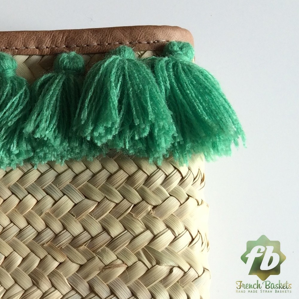 French Baskets clutch bags PomPom necklace green