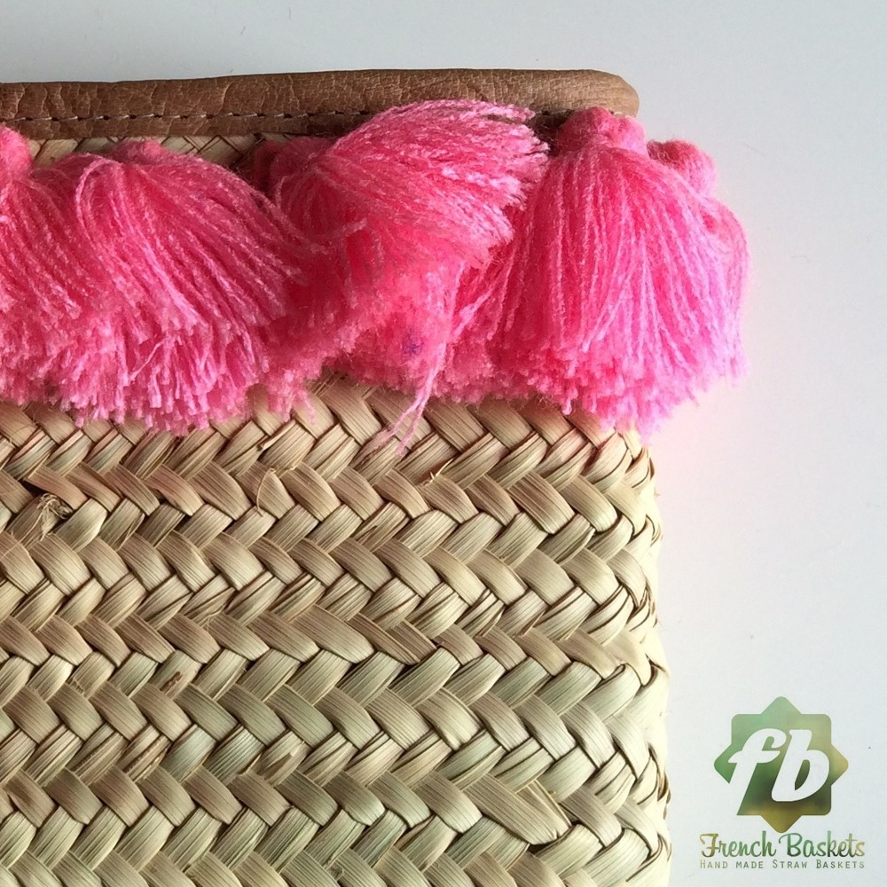 French Baskets clutch bags PomPom necklace pink