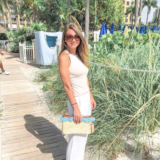 clutch straw bags PomPom necklace Blue