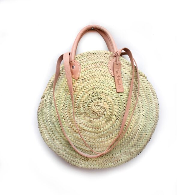 Round wicker basket Double leather handle