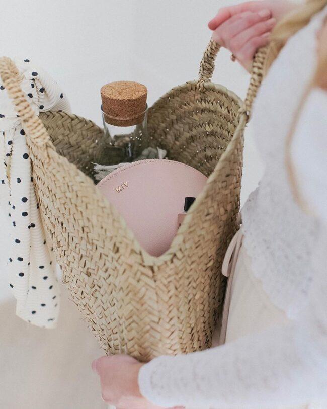 Round straw bag French baskets chubby Medium