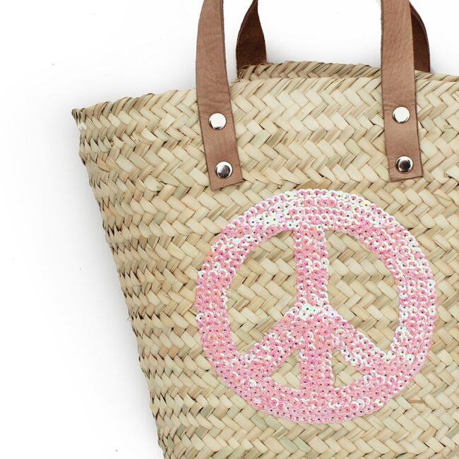 Mini Baskets pink Peace and Love spangle
