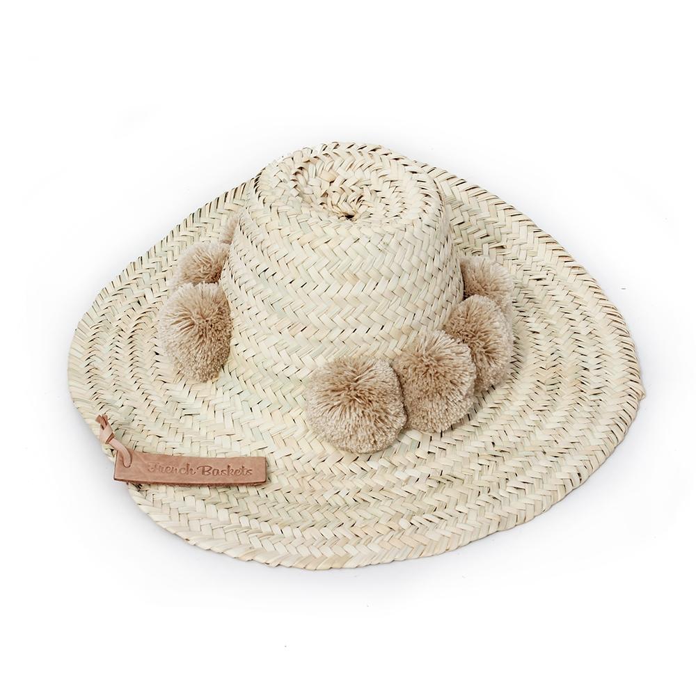 Straw Hats pompom beige