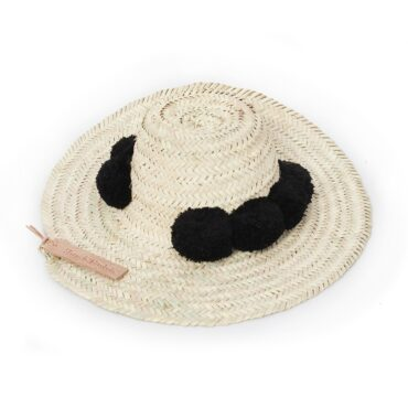 Straw Hats pompom black
