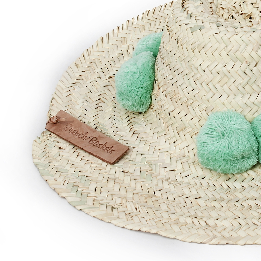 Straw Hats pompom coral green