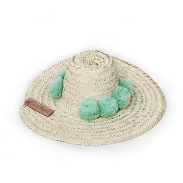 Straw Hats pompom coral green