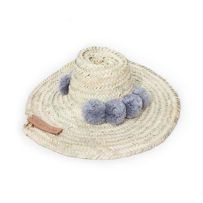 Straw Hats pompom gray