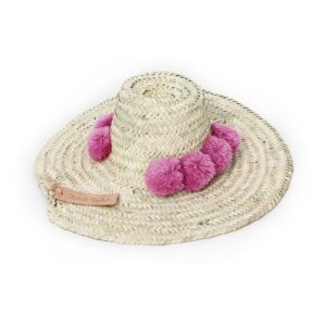 Straw Hats pompom raspberry