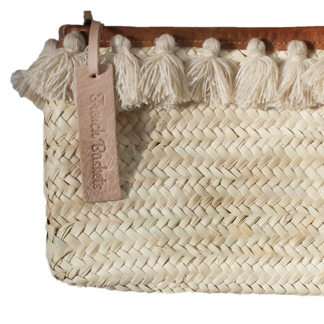 French Baskets clutch bags PomPom necklace beige