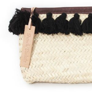 French Baskets clutch bags PomPom necklace black