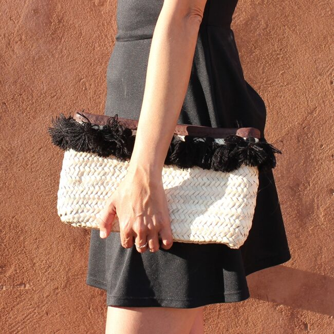French Baskets clutch bags PomPom necklace black