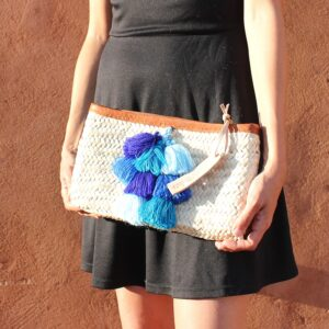 French Baskets clutch bags PomPom necklace 4 blue grapes