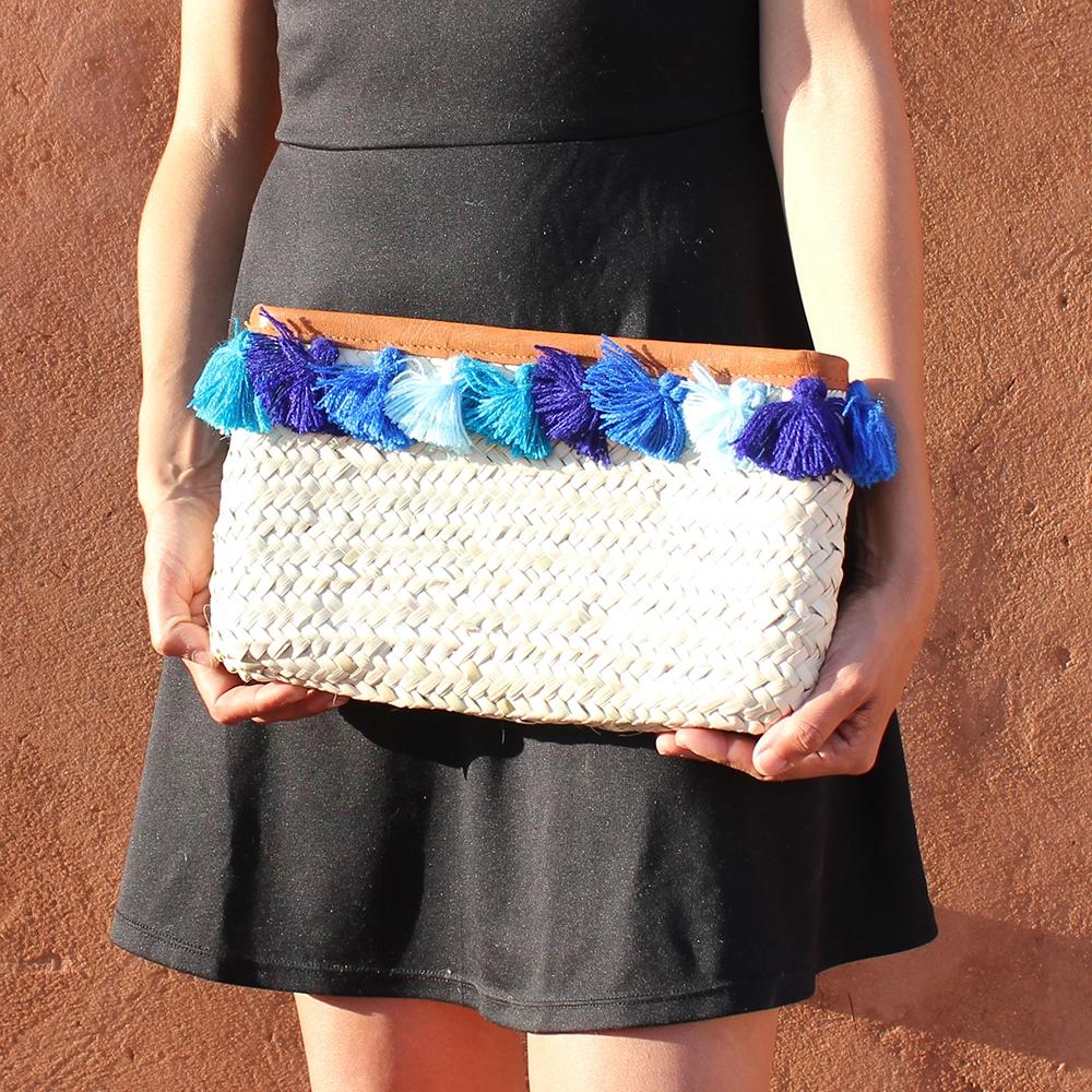 French Baskets clutch bags PomPom necklace 4 blue
