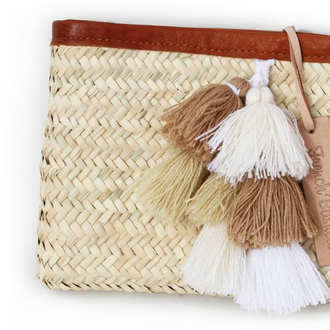 clutch bags PomPom necklace beige white brun grapes
