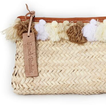 clutch bags PomPom necklace beige white brun