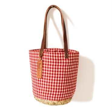 Red gingham basket small