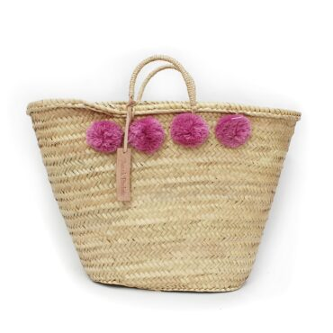 Basket wool 8 pom pom raspberry