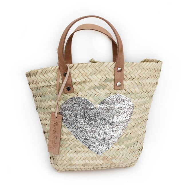 Mini Baskets silver heart spangle