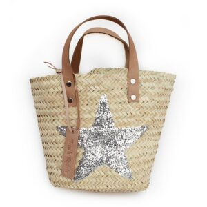Mini Baskets silver stars spangle