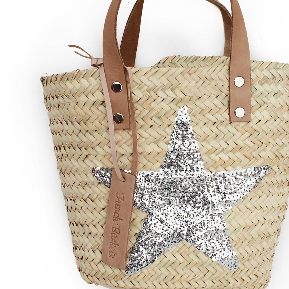 Mini Baskets silver stars spangle