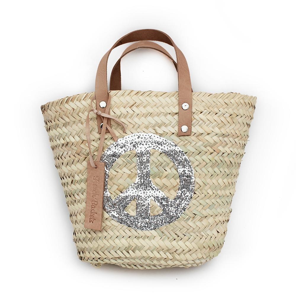 Mini Baskets silver Peace and Love spangle