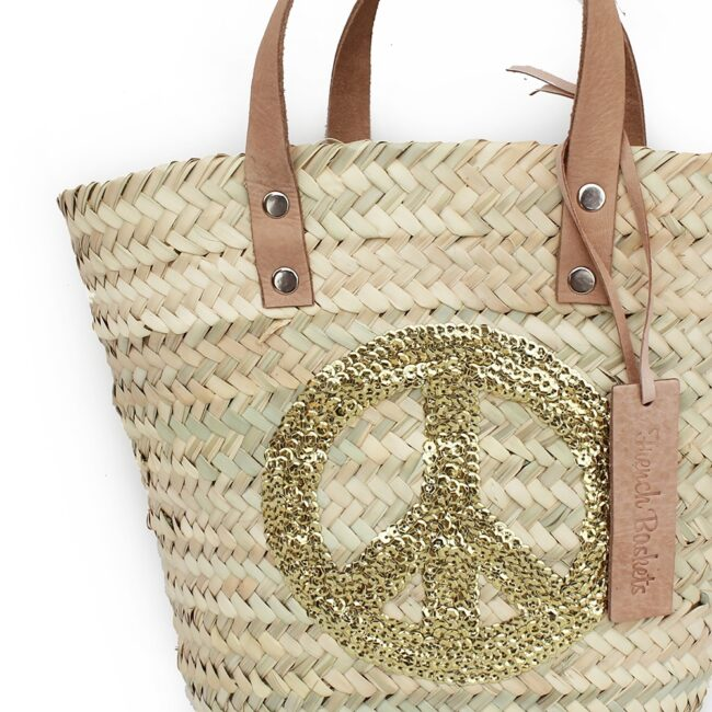 mini Baskets Gold Peace and Love spangle