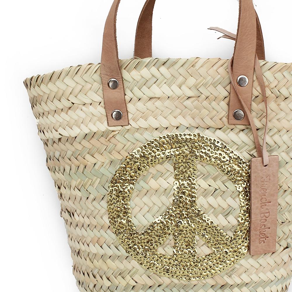 mini Baskets Gold Peace and Love spangle