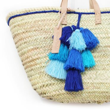 Basket small wool pom pom 4 bleu