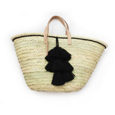 Basket small wool pom pom Black